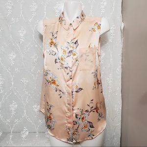 #051-H&M Peachy Beige Floral Sleeveless Blouse